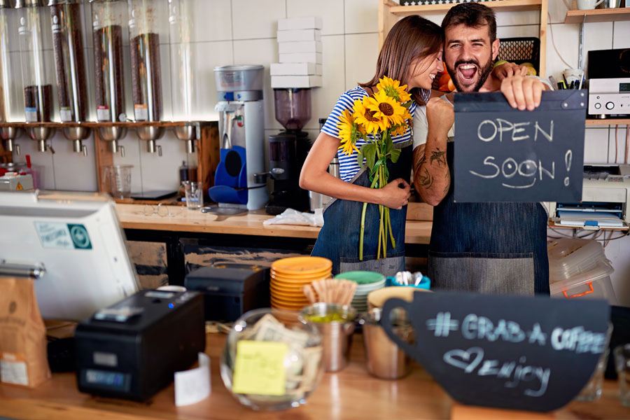 Business Specialty Insurance - New Busienss Owning Couple Opening the Coffee Shop